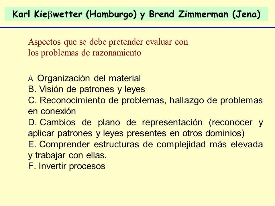 Karl Kie wetter (Hamburgo) y Brend Zimmerman (Jena) A. Organización del material B. Visión de patrones y leyes C. Reconocimiento de problemas, hallazg
