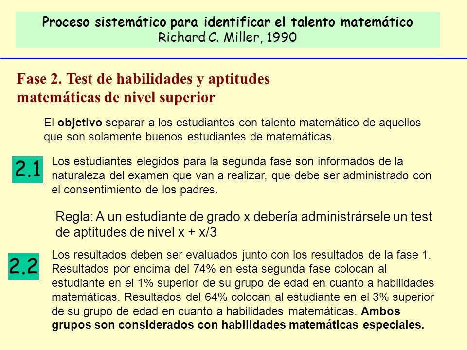 Proceso sistemático para identificar el talento matemático Richard C. Miller, 1990 Fase 2. Test de habilidades y aptitudes matemáticas de nivel superi