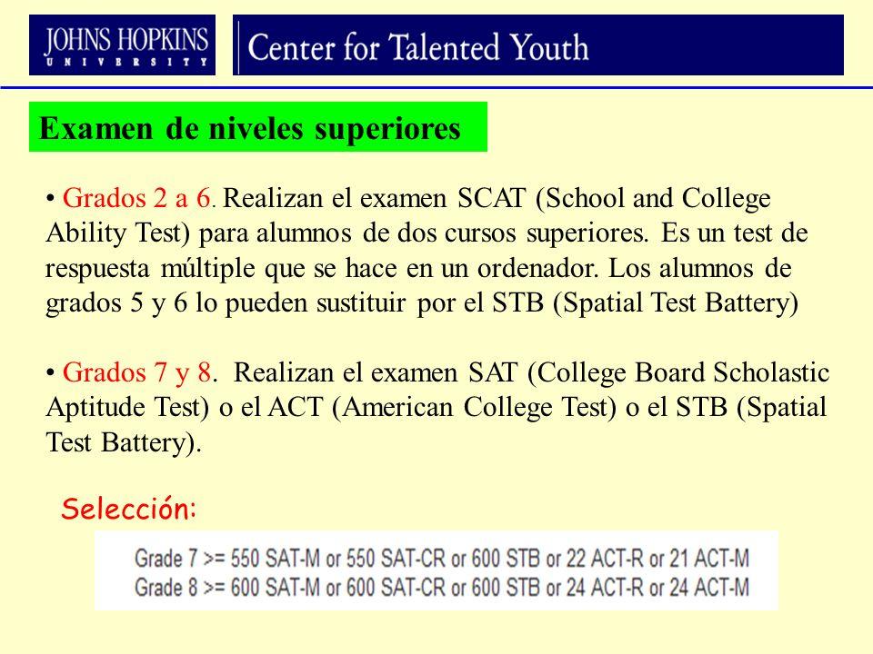 Grados 7 y 8. Realizan el examen SAT (College Board Scholastic Aptitude Test) o el ACT (American College Test) o el STB (Spatial Test Battery). Grados