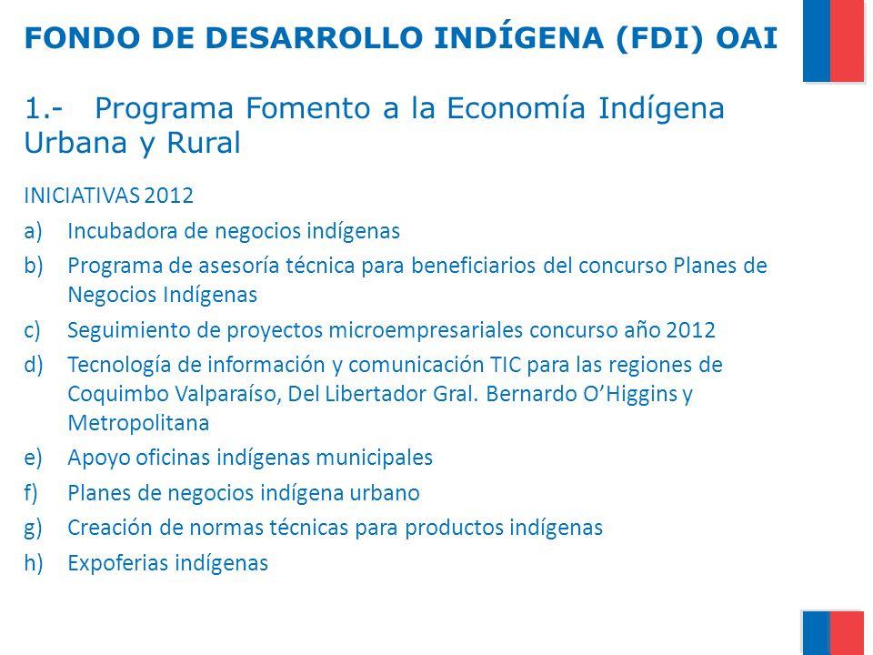 FONDO DE DESARROLLO INDÍGENA (FDI) OAI 1.- Programa Fomento a la Economía Indígena Urbana y Rural INICIATIVAS 2012 a)Incubadora de negocios indígenas