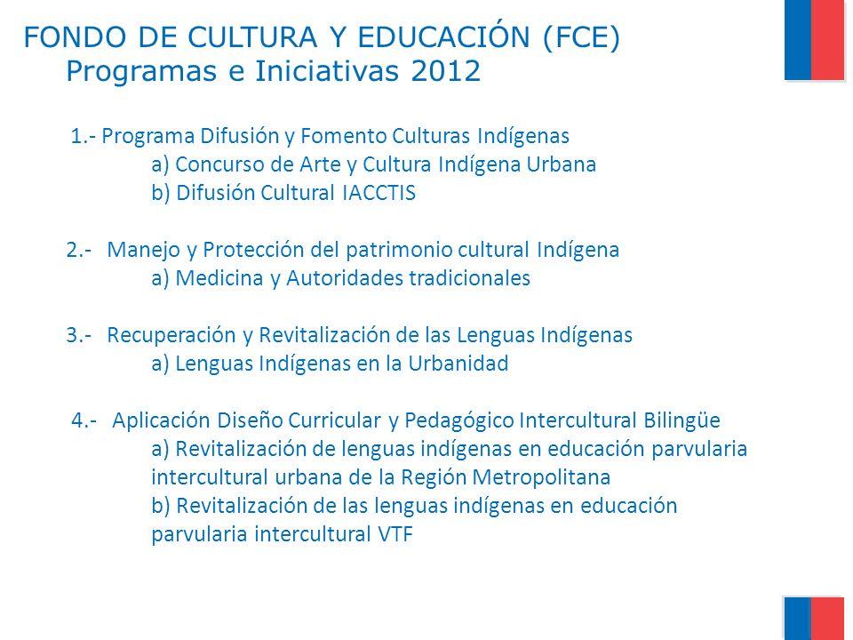 FONDO DE CULTURA Y EDUCACIÓN (FCE) Programas e Iniciativas 2012 1.- Programa Difusión y Fomento Culturas Indígenas a) Concurso de Arte y Cultura Indígena Urbana b) Difusión Cultural IACCTIS 2.- Manejo y Protección del patrimonio cultural Indígena a) Medicina y Autoridades tradicionales 3.- Recuperación y Revitalización de las Lenguas Indígenas a) Lenguas Indígenas en la Urbanidad 4.- Aplicación Diseño Curricular y Pedagógico Intercultural Bilingüe a) Revitalización de lenguas indígenas en educación parvularia intercultural urbana de la Región Metropolitana b) Revitalización de las lenguas indígenas en educación parvularia intercultural VTF