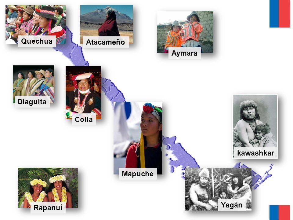 Yagán kawashkar Mapuche Rapanuí Diaguita Quechua Aymara Colla Atacameño