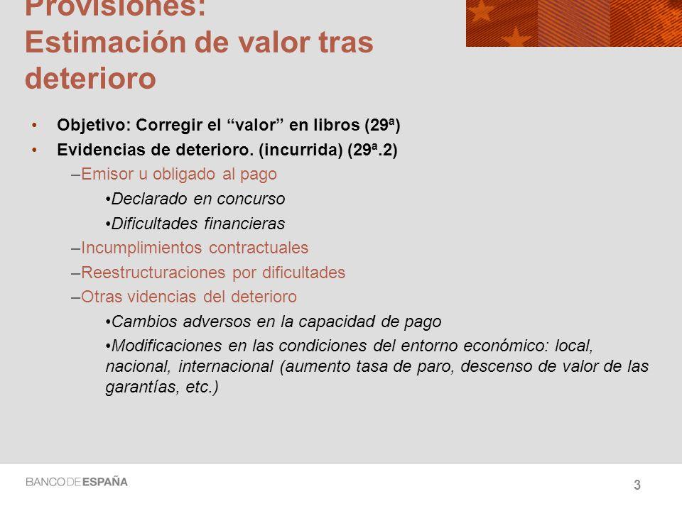 Provisiones: Estimación de valor tras deterioro Objetivo: Corregir el valor en libros (29ª) Evidencias de deterioro. (incurrida) (29ª.2) –Emisor u obl