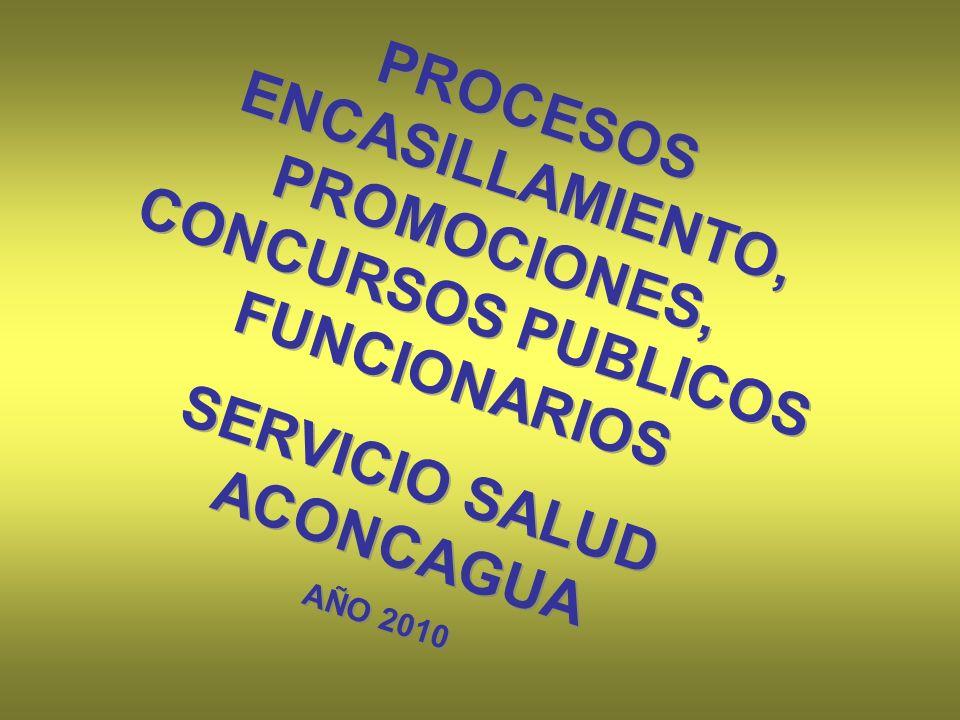 PROCESOS ENCASILLAMIENTO, PROMOCIONES, CONCURSOS PUBLICOS FUNCIONARIOS SERVICIO SALUD ACONCAGUA AÑO 2010 PROCESOS ENCASILLAMIENTO, PROMOCIONES, CONCURSOS PUBLICOS FUNCIONARIOS SERVICIO SALUD ACONCAGUA AÑO 2010