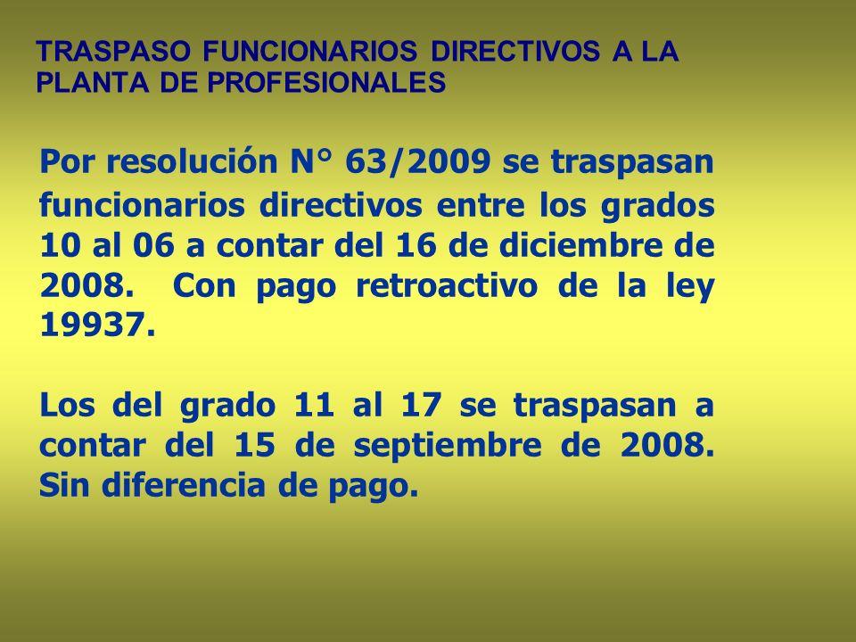 TRASPASO FUNCIONARIOS DIRECTIVOS A LA PLANTA DE PROFESIONALES Por resolución N° 63/2009 se traspasan funcionarios directivos entre los grados 10 al 06 a contar del 16 de diciembre de 2008.