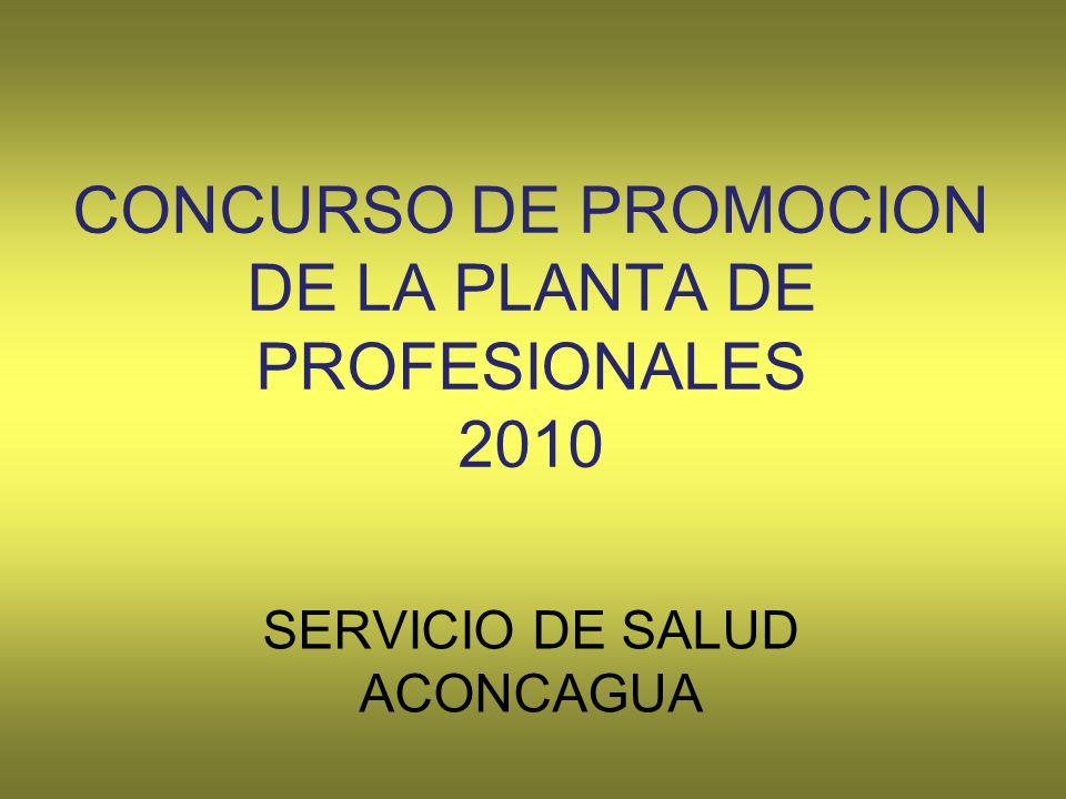 CONCURSO DE PROMOCION DE LA PLANTA DE PROFESIONALES 2010 SERVICIO DE SALUD ACONCAGUA