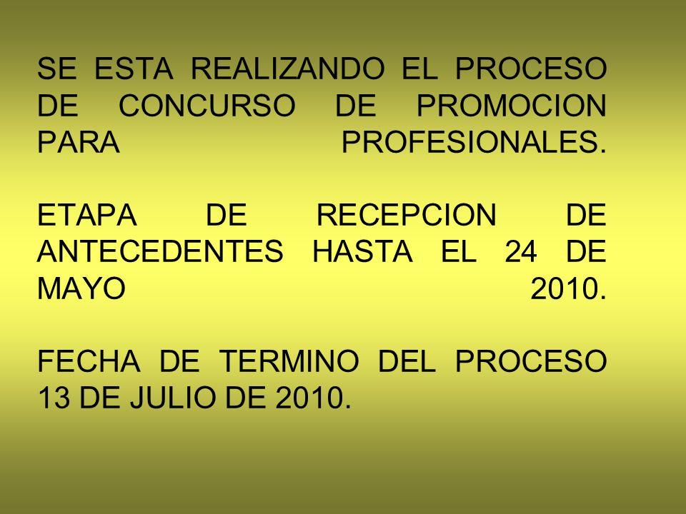 SE ESTA REALIZANDO EL PROCESO DE CONCURSO DE PROMOCION PARA PROFESIONALES.