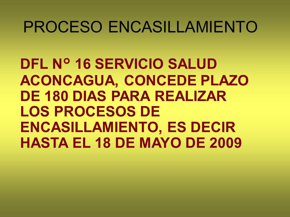 DFL N° 16 SERVICIO SALUD ACONCAGUA, CONCEDE PLAZO DE 180 DIAS PARA REALIZAR LOS PROCESOS DE ENCASILLAMIENTO, ES DECIR HASTA EL 18 DE MAYO DE 2009