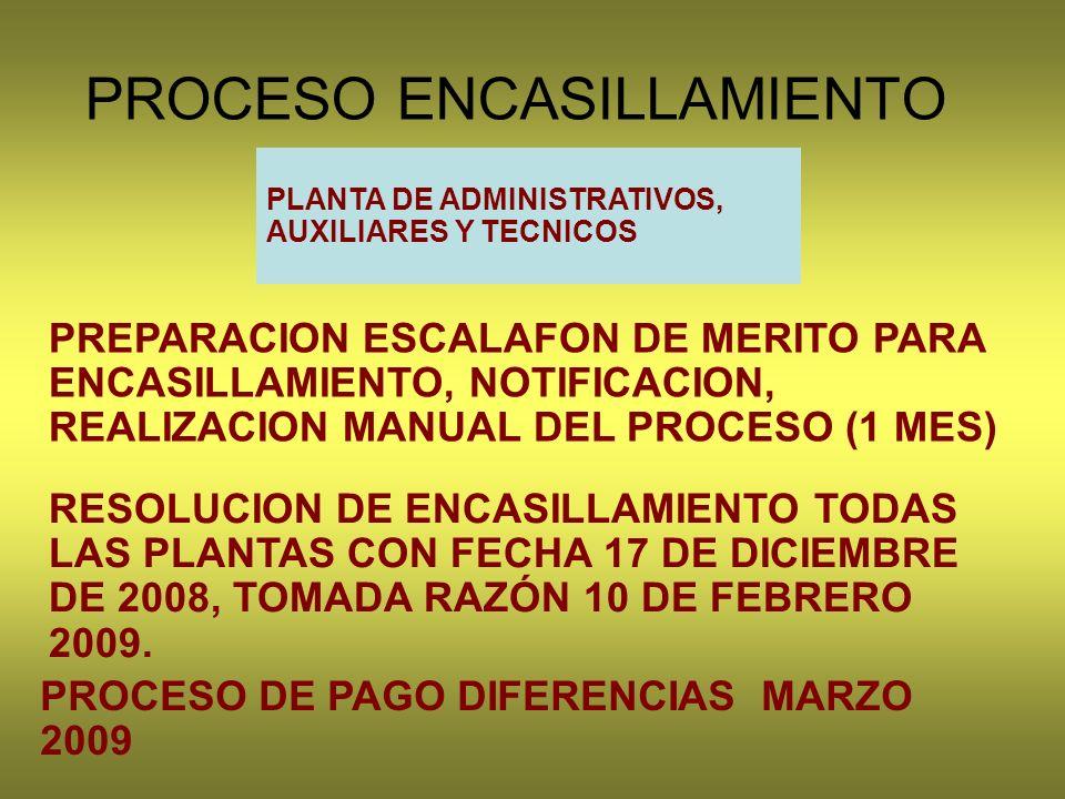 PROCESO ENCASILLAMIENTO PLANTA DE ADMINISTRATIVOS, AUXILIARES Y TECNICOS PREPARACION ESCALAFON DE MERITO PARA ENCASILLAMIENTO, NOTIFICACION, REALIZACION MANUAL DEL PROCESO (1 MES) PROCESO DE PAGO DIFERENCIAS MARZO 2009 RESOLUCION DE ENCASILLAMIENTO TODAS LAS PLANTAS CON FECHA 17 DE DICIEMBRE DE 2008, TOMADA RAZÓN 10 DE FEBRERO 2009.