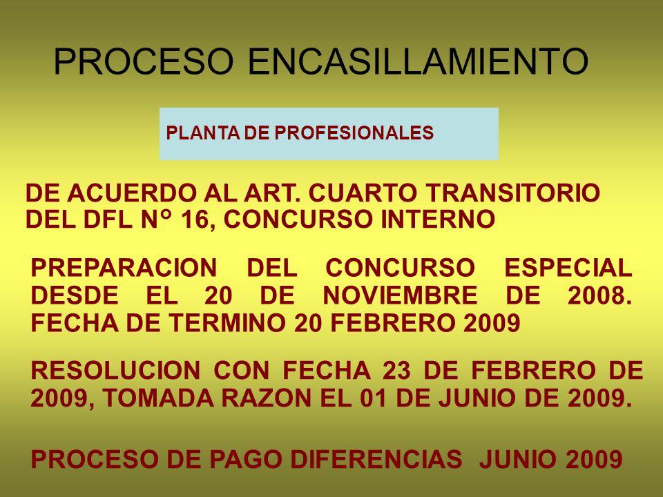 PROCESO ENCASILLAMIENTO PLANTA DE PROFESIONALES DE ACUERDO AL ART.
