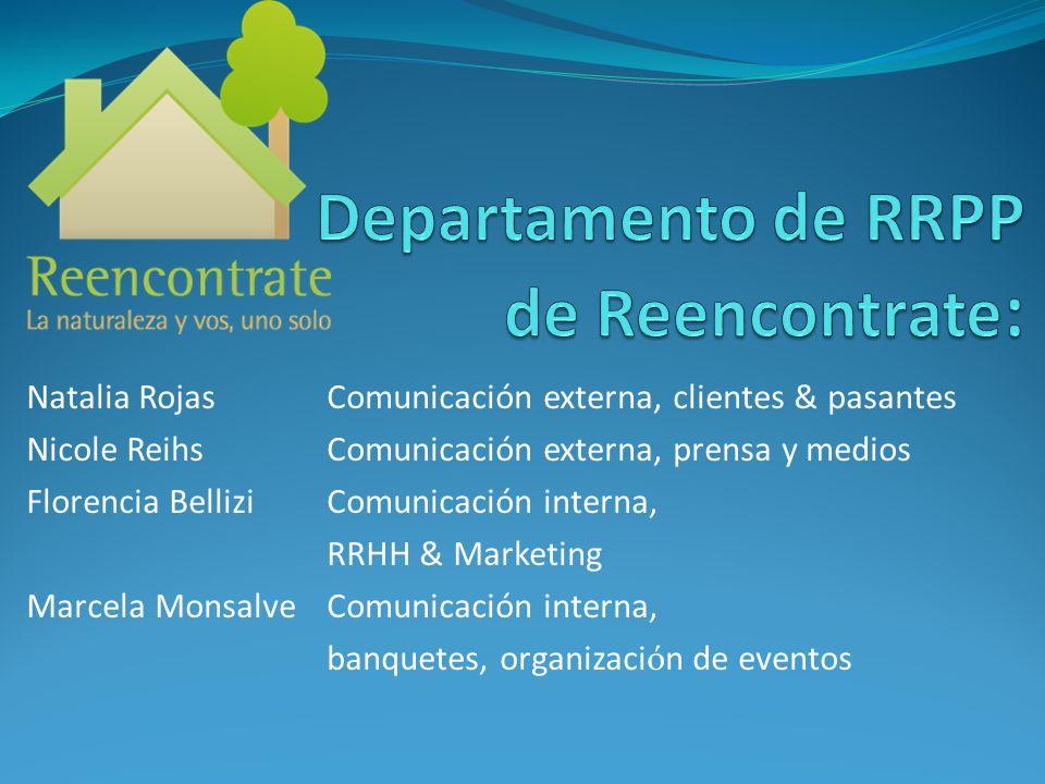 Natalia Rojas Comunicación externa, clientes & pasantes Nicole Reihs Comunicación externa, prensa y medios Florencia Bellizi Comunicación interna, RRH