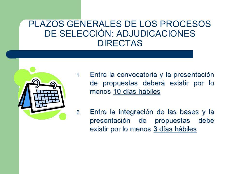 PLAZOS GENERALES DE LOS PROCESOS DE SELECCIÓN: ADJUDICACIONES DIRECTAS 1. Entre la convocatoria y la presentación de propuestas deberá existir por lo