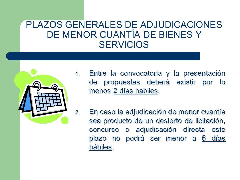 PLAZOS GENERALES DE ADJUDICACIONES DE MENOR CUANTÍA DE BIENES Y SERVICIOS 1. Entre la convocatoria y la presentación de propuestas deberá existir por