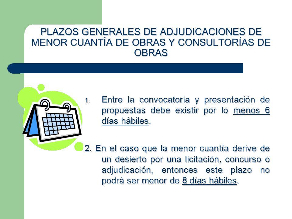 PLAZOS GENERALES DE ADJUDICACIONES DE MENOR CUANTÍA DE OBRAS Y CONSULTORÍAS DE OBRAS 1. Entre la convocatoria y presentación de propuestas debe existi