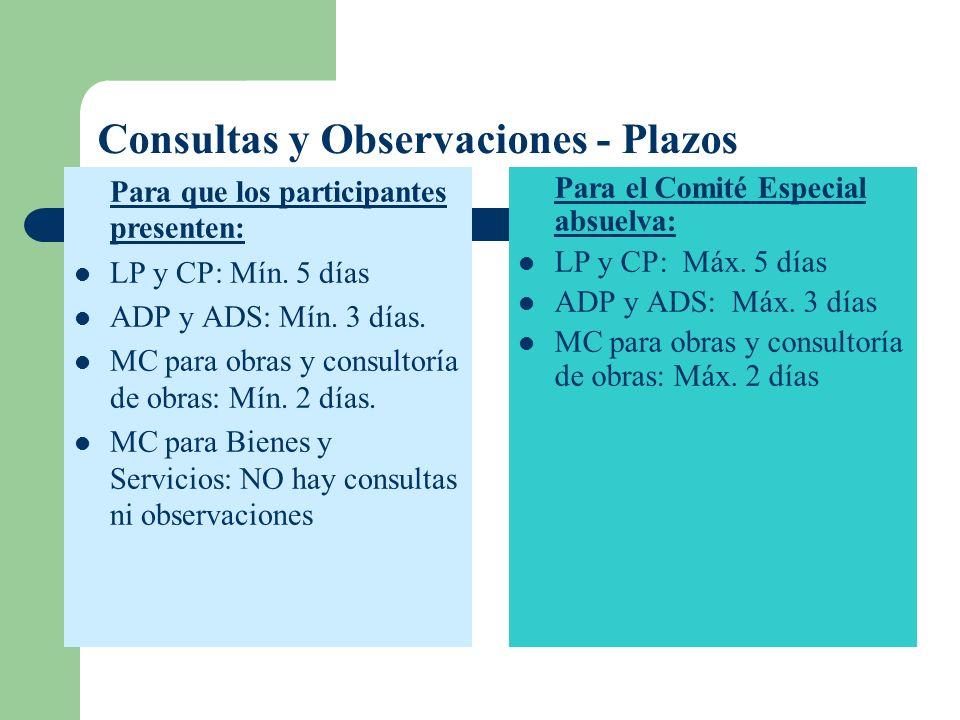 Consultas y Observaciones - Plazos Para que los participantes presenten: LP y CP: Mín. 5 días ADP y ADS: Mín. 3 días. MC para obras y consultoría de o
