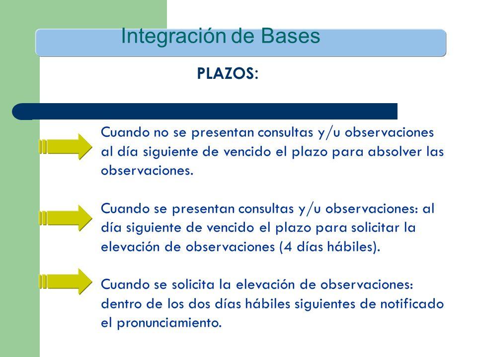 Integración de Bases Cuando no se presentan consultas y/u observaciones al día siguiente de vencido el plazo para absolver las observaciones. Cuando s