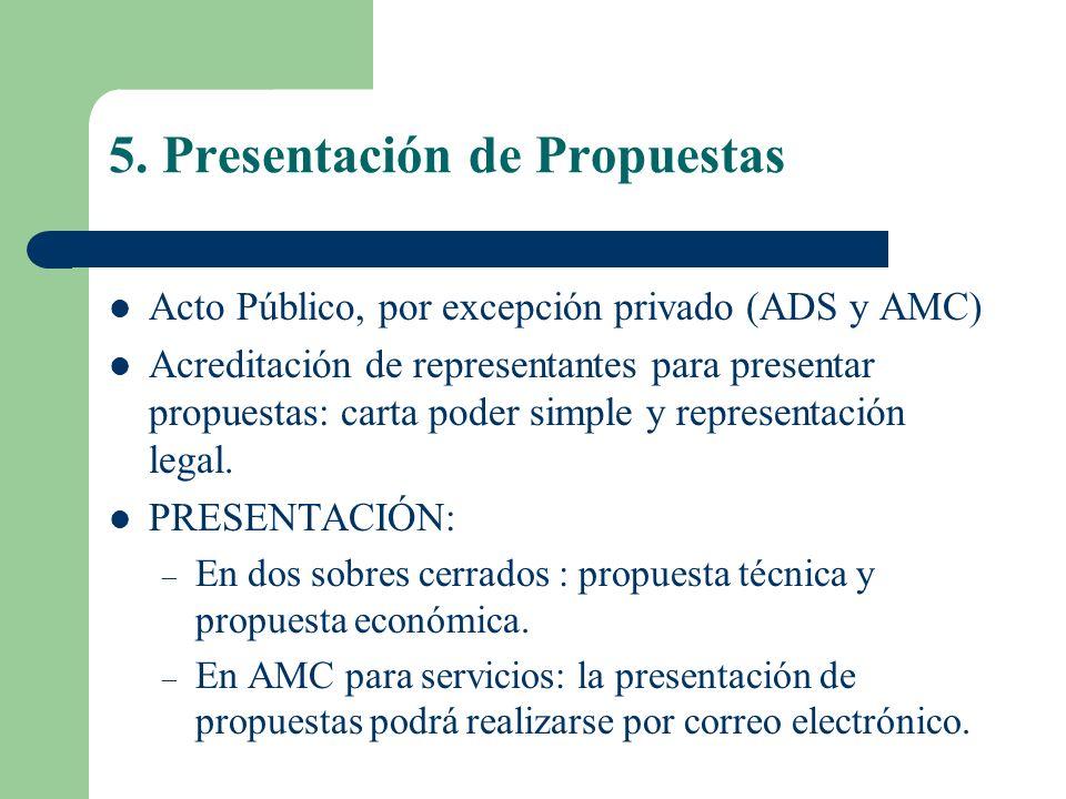 5. Presentación de Propuestas Acto Público, por excepción privado (ADS y AMC) Acreditación de representantes para presentar propuestas: carta poder si