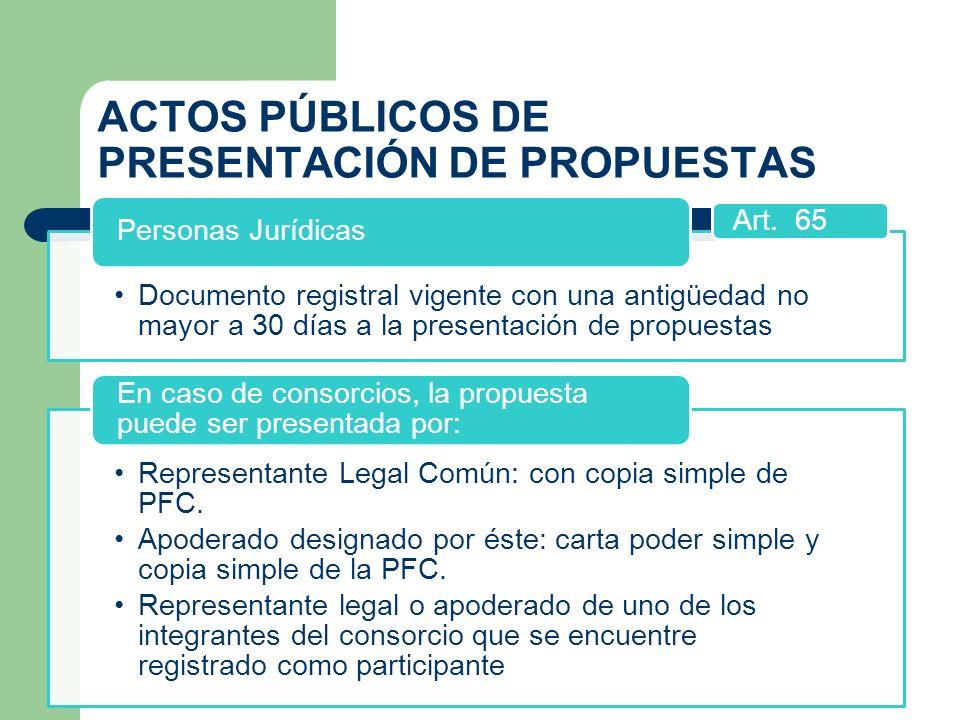 ACTOS PÚBLICOS DE PRESENTACIÓN DE PROPUESTAS Documento registral vigente con una antigüedad no mayor a 30 días a la presentación de propuestas Persona