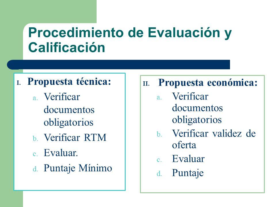 Procedimiento de Evaluación y Calificación I. Propuesta técnica: a. Verificar documentos obligatorios b. Verificar RTM c. Evaluar. d. Puntaje Mínimo I