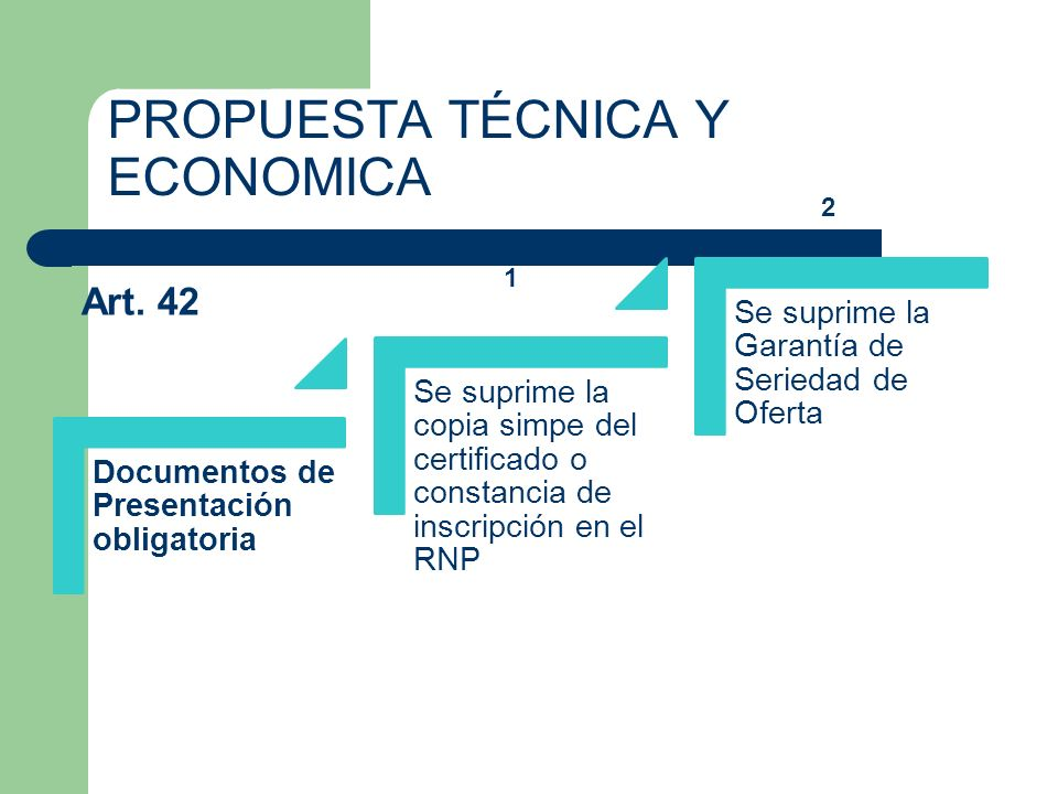 PROPUESTA TÉCNICA Y ECONOMICA Documentos de Presentación obligatoria Se suprime la copia simpe del certificado o constancia de inscripción en el RNP S