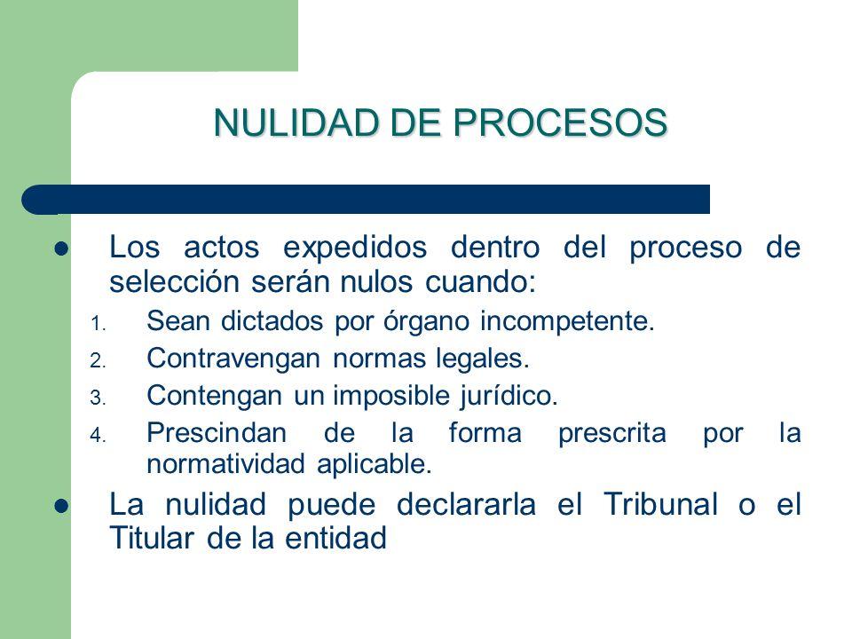 NULIDAD DE PROCESOS Los actos expedidos dentro del proceso de selección serán nulos cuando: 1. Sean dictados por órgano incompetente. 2. Contravengan