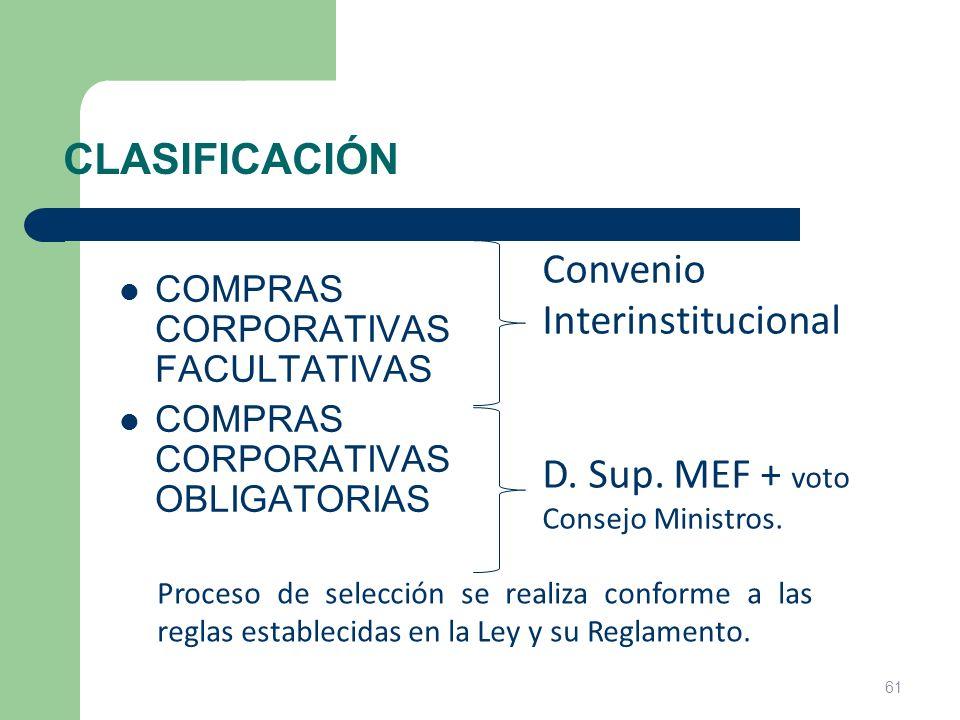 CLASIFICACIÓN COMPRAS CORPORATIVAS FACULTATIVAS COMPRAS CORPORATIVAS OBLIGATORIAS Convenio Interinstitucional D. Sup. MEF + voto Consejo Ministros. Pr