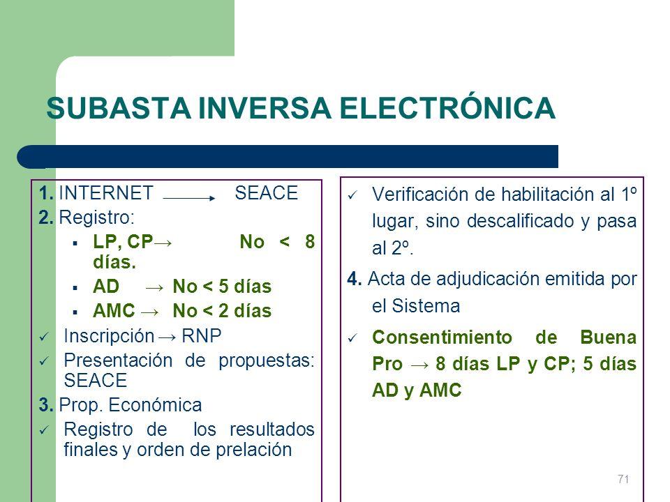 SUBASTA INVERSA ELECTRÓNICA 1. INTERNET SEACE 2. Registro: LP, CP No < 8 días. AD No < 5 días AMC No < 2 días Inscripción RNP Presentación de propuest