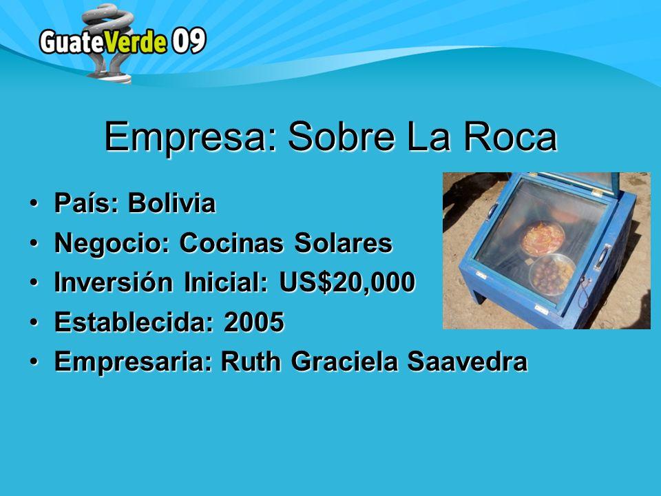 Empresa: Sobre La Roca País: BoliviaPaís: Bolivia Negocio: Cocinas SolaresNegocio: Cocinas Solares Inversión Inicial: US$20,000Inversión Inicial: US$20,000 Establecida: 2005Establecida: 2005 Empresaria: Ruth Graciela SaavedraEmpresaria: Ruth Graciela Saavedra