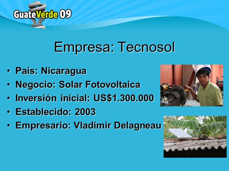 País: NicaraguaPaís: Nicaragua Negocio: Solar FotovoltaicaNegocio: Solar Fotovoltaica Inversión inicial: US$1.300.000Inversión inicial: US$1.300.000 Establecido: 2003Establecido: 2003 Empresario: Vladimir DelagneauEmpresario: Vladimir Delagneau Empresa: Tecnosol