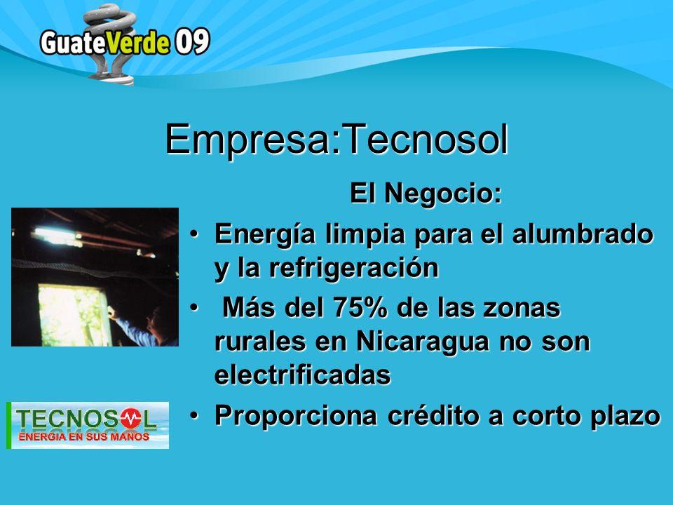 El Negocio: Energía limpia para el alumbrado y la refrigeraciónEnergía limpia para el alumbrado y la refrigeración Más del 75% de las zonas rurales en Nicaragua no son electrificadas Más del 75% de las zonas rurales en Nicaragua no son electrificadas Proporciona crédito a corto plazoProporciona crédito a corto plazo Empresa:Tecnosol