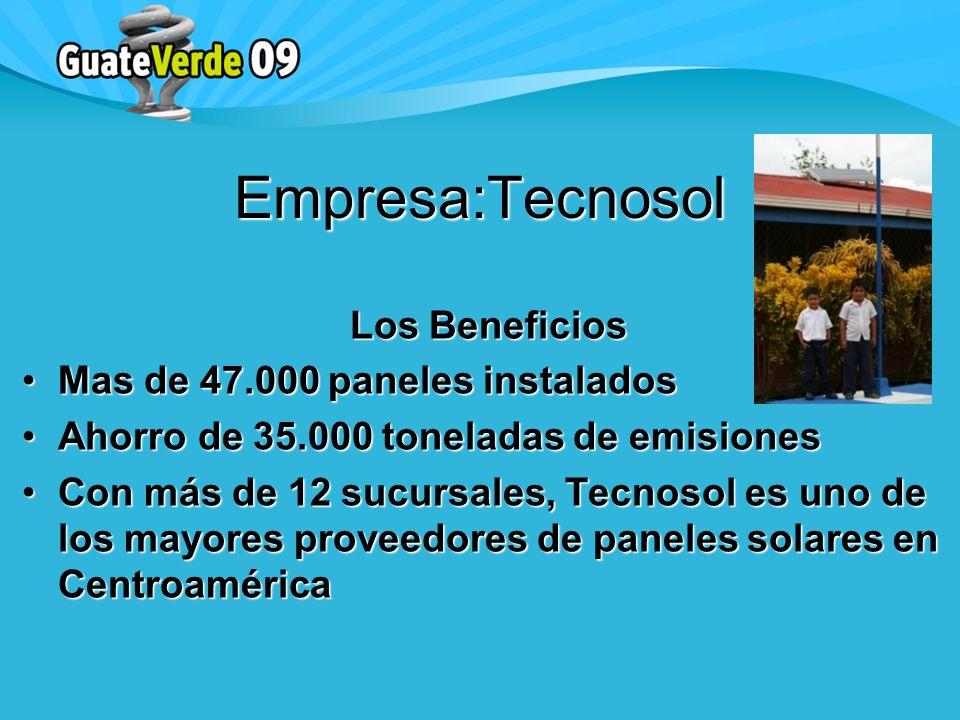 Los Beneficios Mas de 47.000 paneles instaladosMas de 47.000 paneles instalados Ahorro de 35.000 toneladas de emisionesAhorro de 35.000 toneladas de emisiones Con más de 12 sucursales, Tecnosol es uno de los mayores proveedores de paneles solares en CentroaméricaCon más de 12 sucursales, Tecnosol es uno de los mayores proveedores de paneles solares en Centroamérica Empresa:Tecnosol