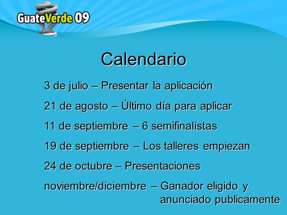 Calendario 3 de julio – Presentar la aplicación 21 de agosto – Último día para aplicar 11 de septiembre – 6 semifinalistas 19 de septiembre – Los talleres empiezan 24 de octubre – Presentaciones noviembre/diciembre – Ganador eligido y anunciado publicamente