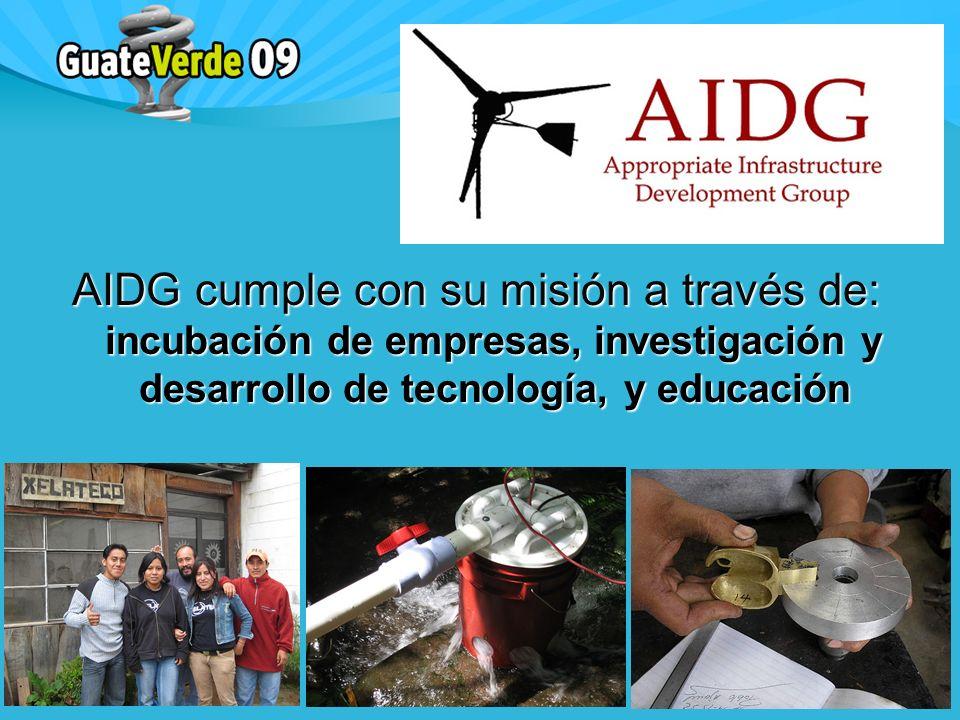 AIDG cumple con su misión a través de: incubación de empresas, investigación y desarrollo de tecnología, y educación