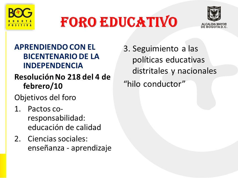 FORO EDUCATIVO APRENDIENDO CON EL BICENTENARIO DE LA INDEPENDENCIA Resolución No 218 del 4 de febrero/10 Objetivos del foro 1.Pactos co- responsabilidad: educación de calidad 2.Ciencias sociales: enseñanza - aprendizaje 3.