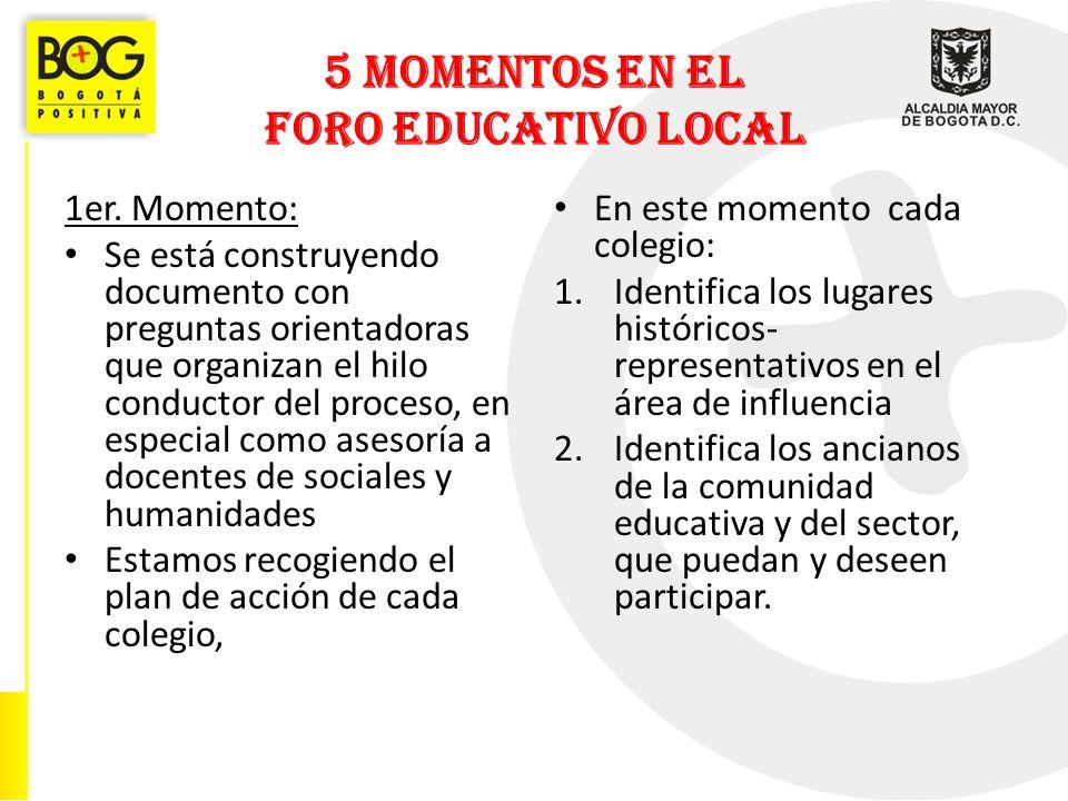 5 MOMENTOS EN EL FORO EDUCATIVO LOCAL 1er.