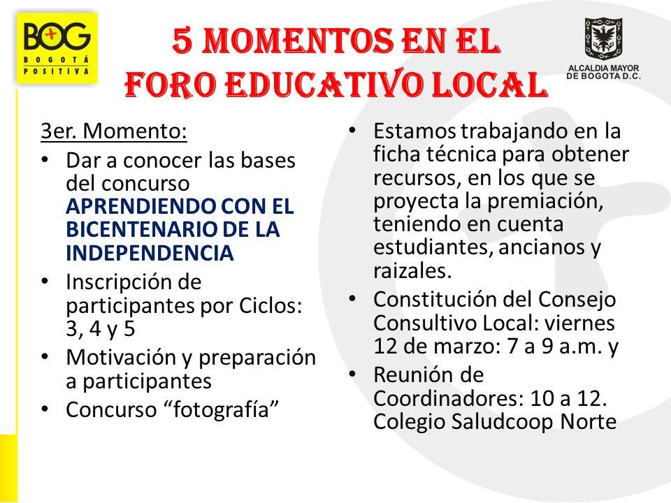 5 MOMENTOS EN EL FORO EDUCATIVO LOCAL 3er.