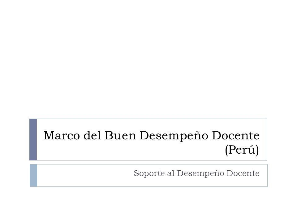 Marco del Buen Desempeño Docente (Perú) Soporte al Desempeño Docente