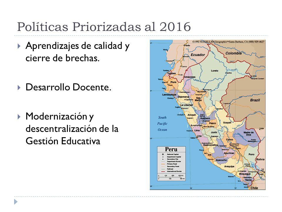 Políticas Priorizadas al 2016 Aprendizajes de calidad y cierre de brechas. Desarrollo Docente. Modernización y descentralización de la Gestión Educati
