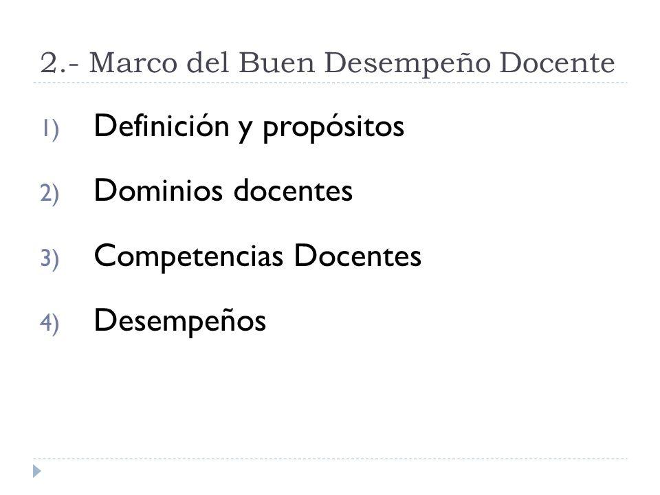 2.- Marco del Buen Desempeño Docente 1) Definición y propósitos 2) Dominios docentes 3) Competencias Docentes 4) Desempeños