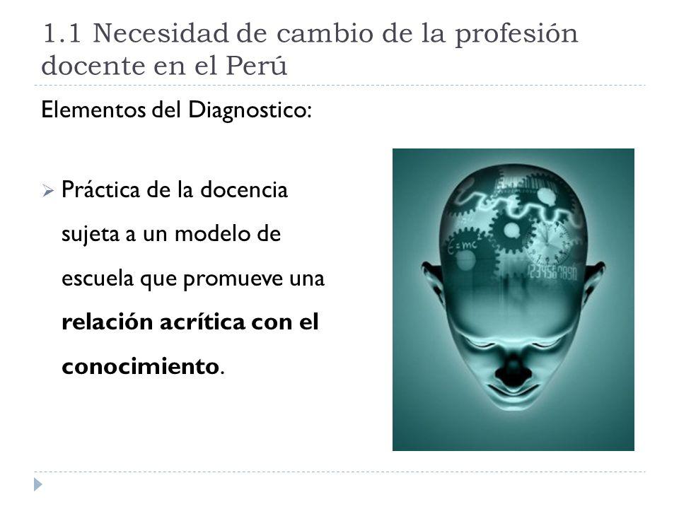 1.1 Necesidad de cambio de la profesión docente en el Perú Elementos del Diagnostico: Práctica de la docencia sujeta a un modelo de escuela que promue