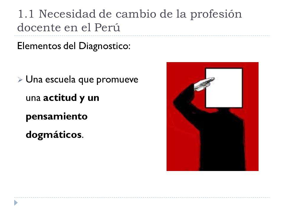 1.1 Necesidad de cambio de la profesión docente en el Perú Elementos del Diagnostico: Una escuela que promueve una actitud y un pensamiento dogmáticos