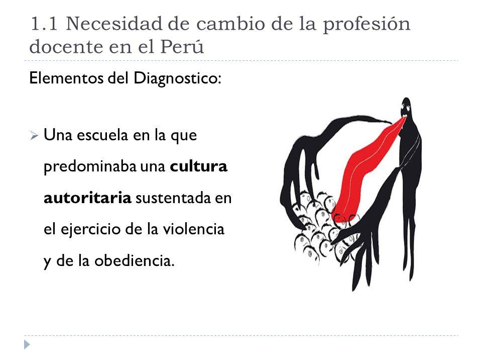 1.1 Necesidad de cambio de la profesión docente en el Perú Elementos del Diagnostico: Una escuela en la que predominaba una cultura autoritaria susten