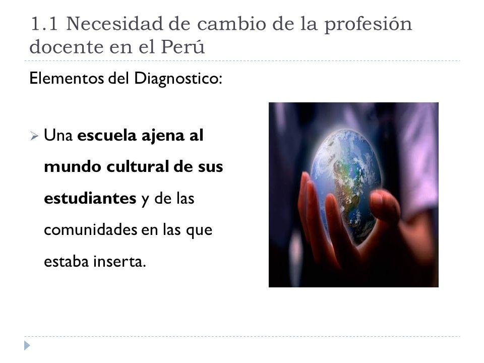 1.1 Necesidad de cambio de la profesión docente en el Perú Elementos del Diagnostico: Una escuela ajena al mundo cultural de sus estudiantes y de las