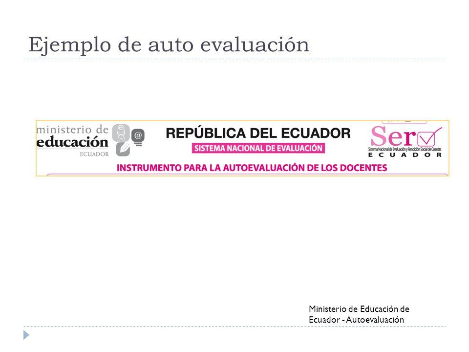 Ejemplo de auto evaluación Ministerio de Educación de Ecuador - Autoevaluación