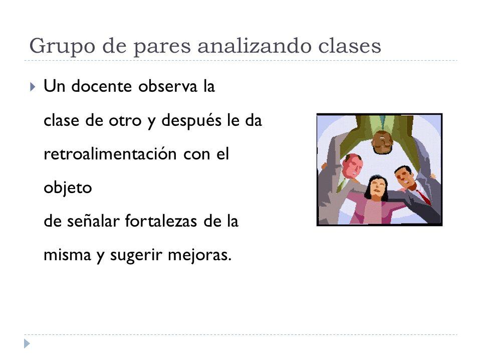 Grupo de pares analizando clases Un docente observa la clase de otro y después le da retroalimentación con el objeto de señalar fortalezas de la misma