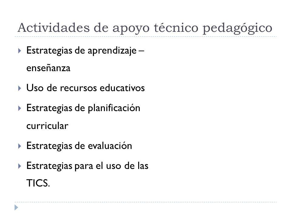 Actividades de apoyo técnico pedagógico Estrategias de aprendizaje – enseñanza Uso de recursos educativos Estrategias de planificación curricular Estr