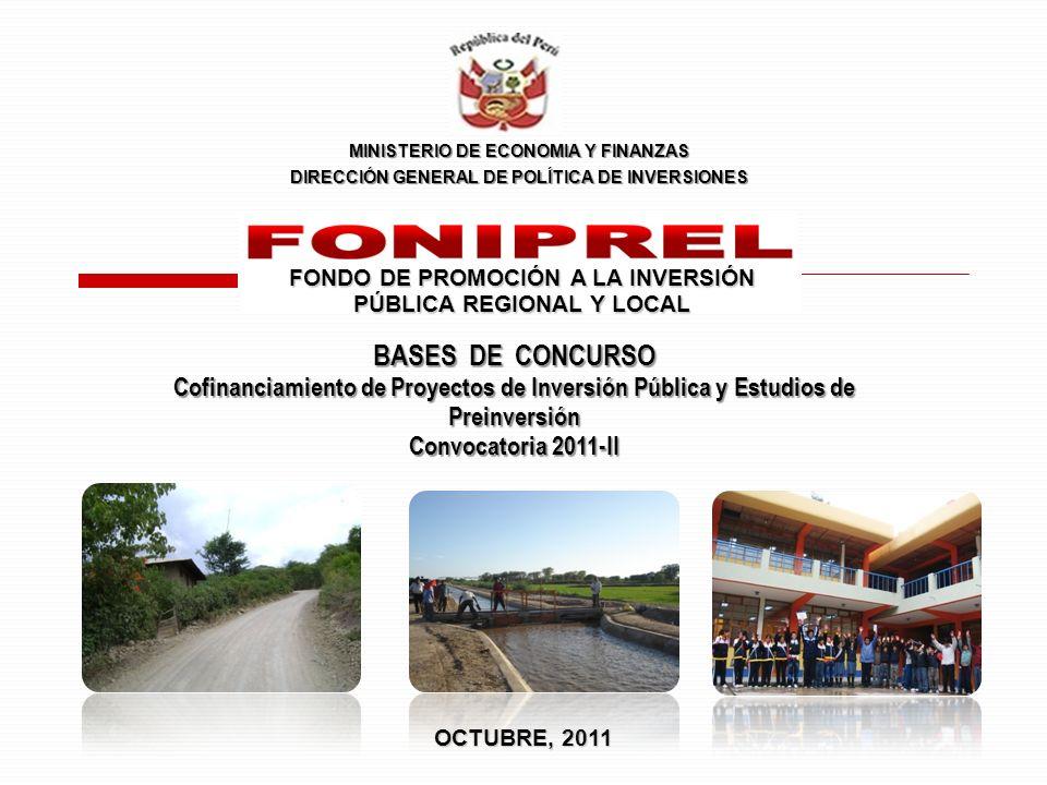 Muy importante: En ninguno de los casos el FONIPREL cofinanciará, para un solo proyecto, más del 40% del monto disponible dentro de su Rubro de concurso.