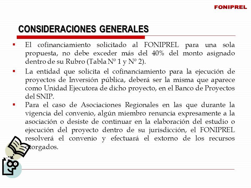 El cofinanciamiento solicitado al FONIPREL para una sola propuesta, no debe exceder más del 40% del monto asignado dentro de su Rubro (Tabla Nº 1 y Nº