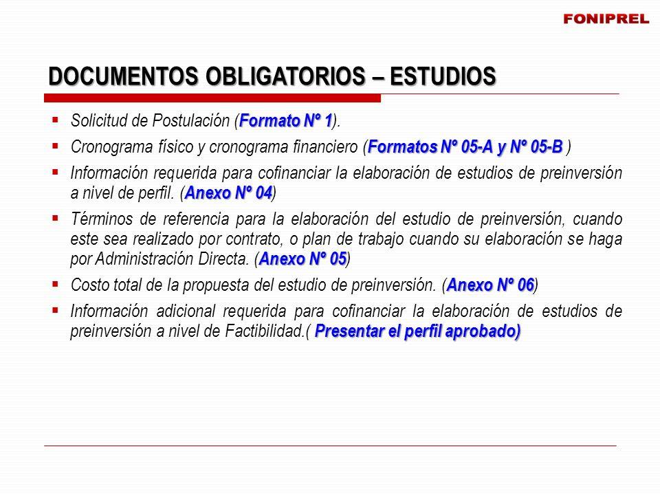 Formato Nº 1 Solicitud de Postulación ( Formato Nº 1 ). Formatos Nº 05-A y Nº 05-B Cronograma físico y cronograma financiero ( Formatos Nº 05-A y Nº 0