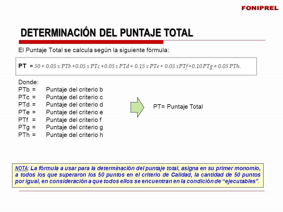NOTA: La fórmula a usar para la determinación del puntaje total, asigna en su primer monomio, a todos los que superaron los 50 puntos en el criterio d